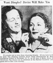 An article touted the new device soon after it was patented. Evangeline Gilbert demonstrated its use on Bobby Joyce's face.