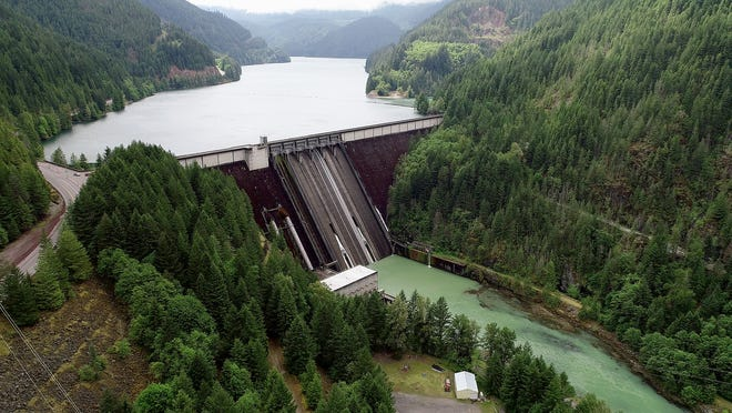 The Detroit Dam pictured in 2019. The dam was constructed by the U.S. Army Corps of Engineers in the Willamette Valley and began operating in 1953.