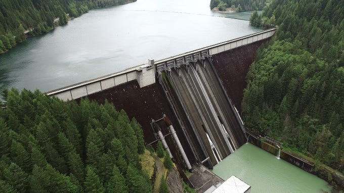 The Detroit Dam was constructed by the U.S. Army Corps of Engineers in the Willamette Valley and began operating in 1953.