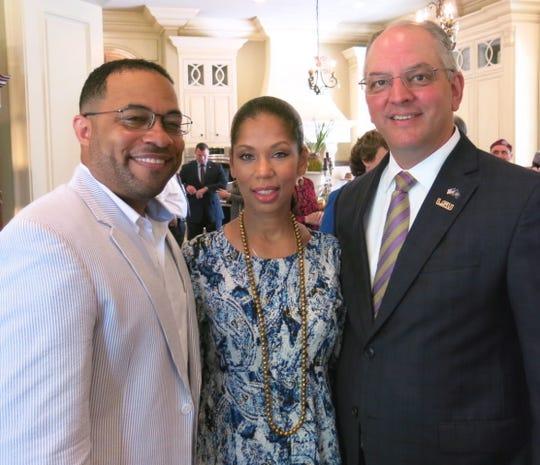 """LSU Health Foundation Member Dr. James Hobley and Mrs. Hobley with Gov. John Bel Edwards at """"Rise and Shine Brunch."""""""