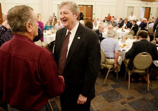 U.S. Senator John Kennedy, right, talks to Thomas Tebbe at the luncheon for the Rotary Club of Shreveport in the Shreveport Convention Center, Tuesday 28, 2019.