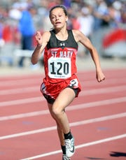 Courtney Brown of Dell Rapids St. Mary competes during the second day of the state high school track and field meet Saturday, May 25, at Howard Wood Field in Sioux Falls.