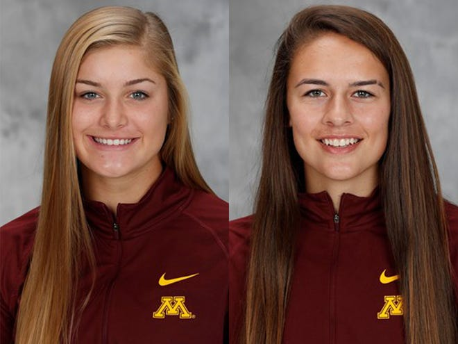Minnesota Gophers freshmen Ali Lindner (left) and Emma Burns.