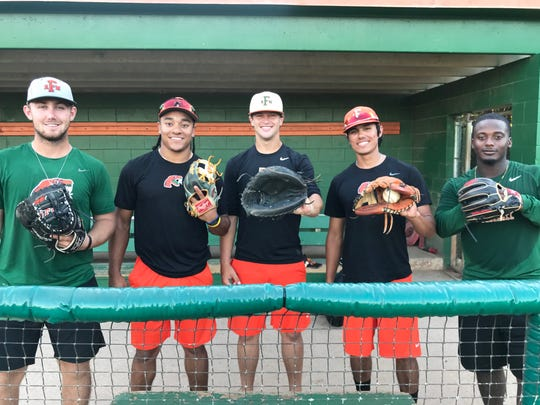 From left to right: FAMU infielders Tucker Rayburn (first base), Octavien Moyer (second base), Bret Maxwell (catcher) Ryan Coscarella (shortstop) and Kaycee Reese (third base) form a solid defensive front. Their play will be key for the Rattlers in the NCAA tournament.