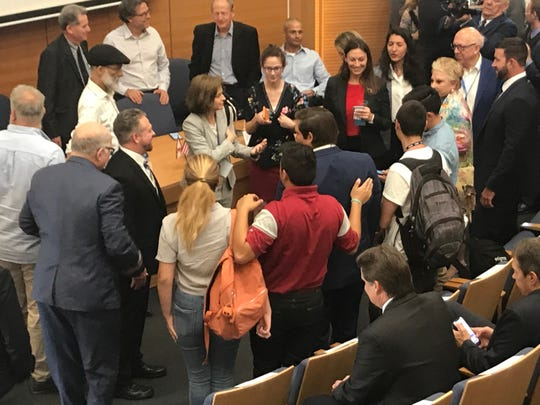 Gov. Ron DeSantis greets college students touring Israel with AIPAC while at Tel Aviv University.