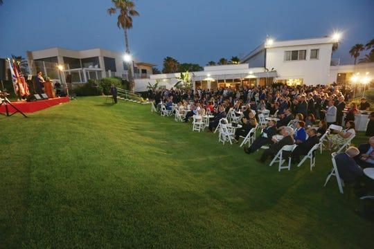 Gov. Ron DeSantis speaks to the Florida delegation gathered on the back lawn of  the U.S. Ambassador David Friedman's residence in Tel Aviv.