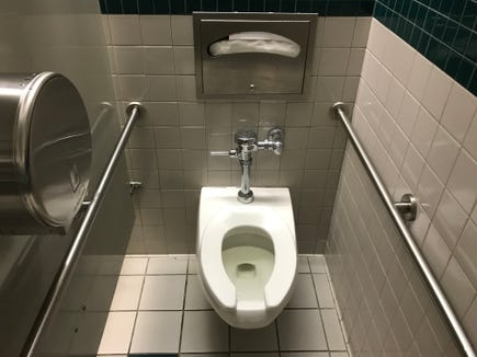This is a toilet, but it is not the unflushed commode involved in the incident