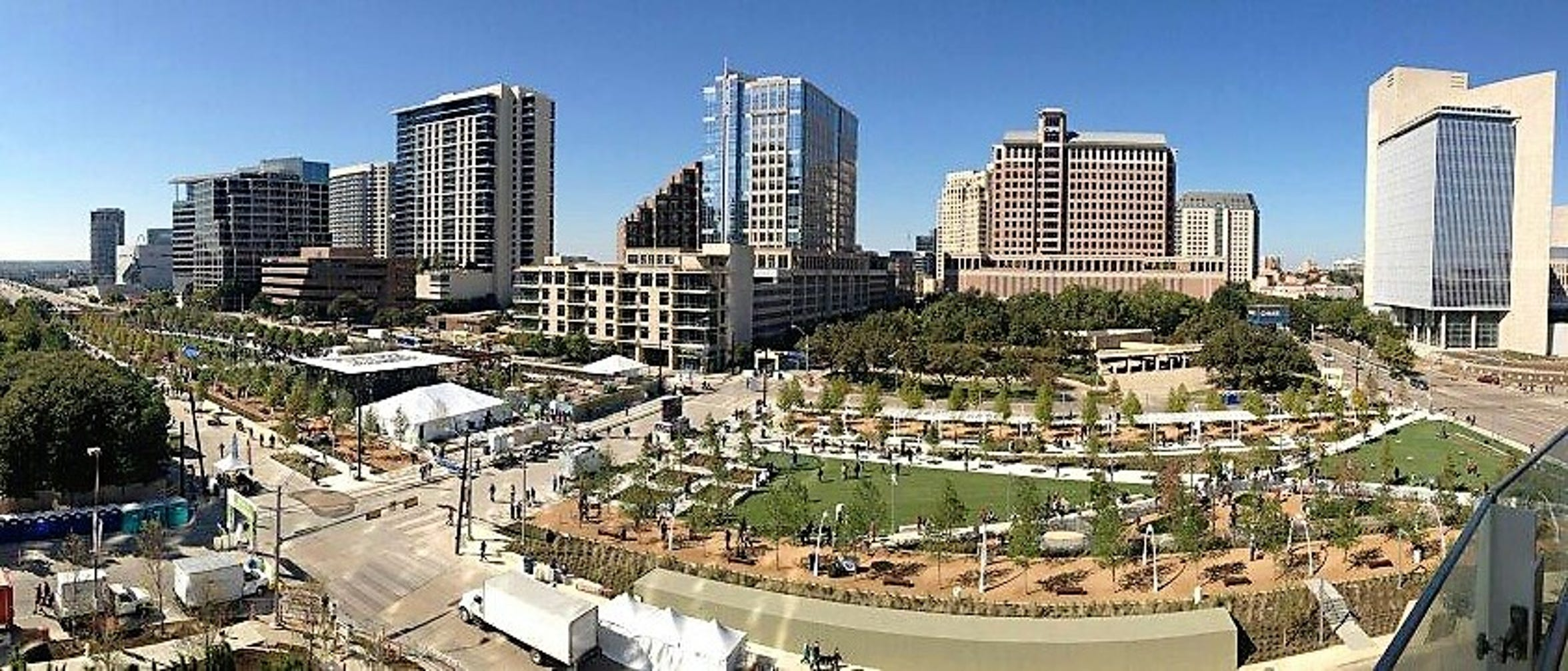 The 5.2-acre Klyde Warren Park in Dallas is built on a deck over the recessed, eight-lane Woodall Rodgers Freeway.