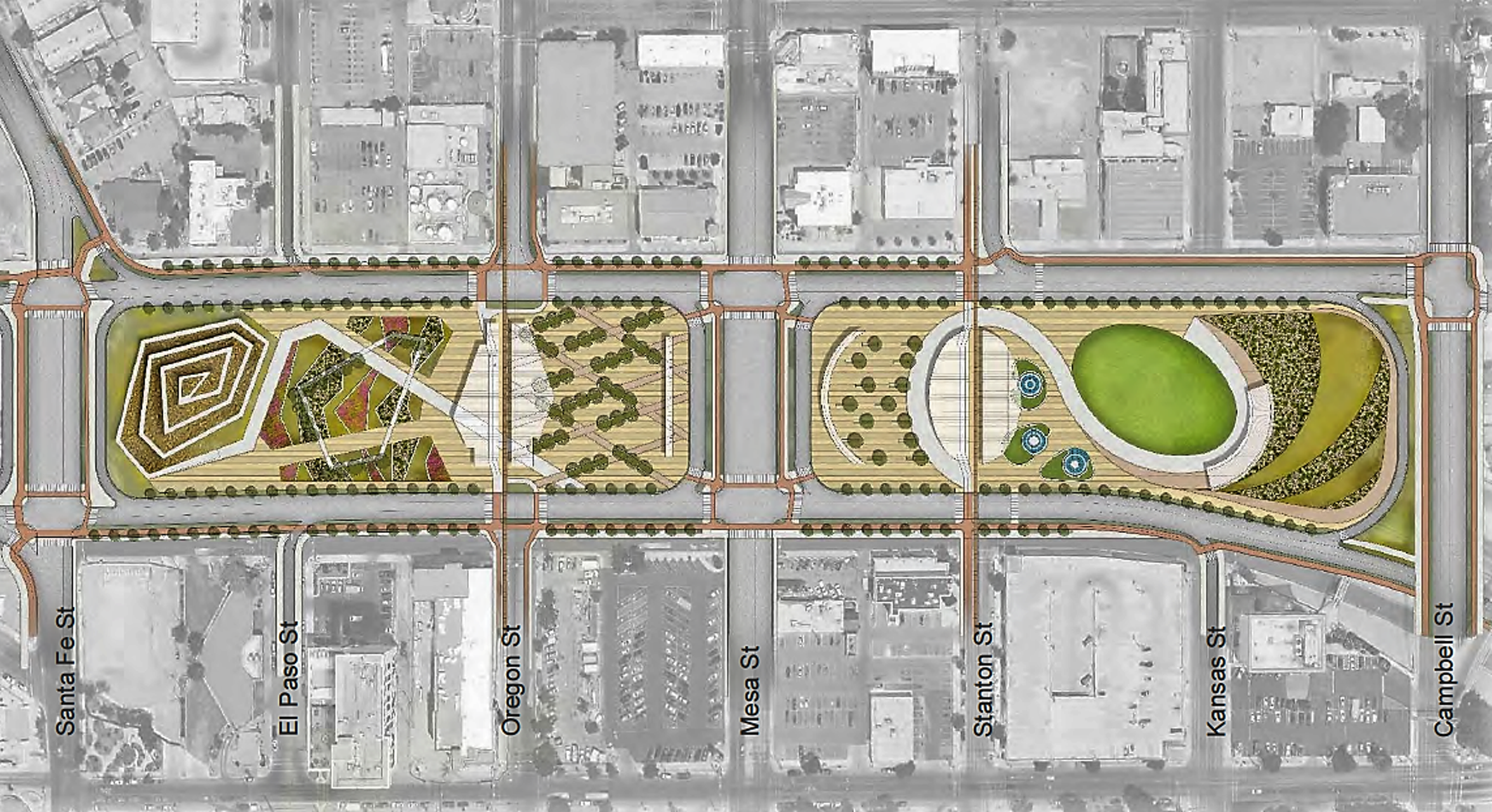 Concepts for widening I-10 through Downtown include putting deck parks above the freeway as shown in this rendering.