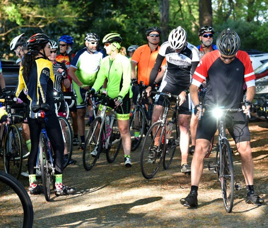 Cyclists with the Freewheelers Spartanburg prepare for a ride near Moore, SC on Monday, April 15, 2019.