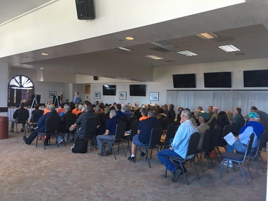 Around 60 people attended Tuesday's Ventura County Fairgrounds board meeting to weigh in on the future of gun shows.