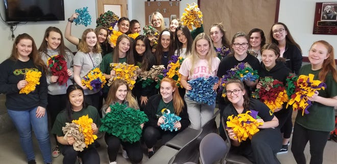 """Our Lady of Mercy Academy students made """"Snuffle Mats,"""" enrichment toys for shelter cats and dogs, as part of a Compassion Quest Mini-Mester project."""