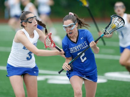 Bronxville's Ashley Toal is covered by Millbrook's Aly Rosenzweig during Tuesday's Class D regional semifinal in Newburgh on on May 28, 2019.
