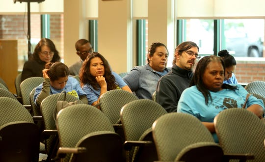 Area residents listen to speakers during a public hearing on rent regulation and tenant protection legislation at Greenburgh Town Hall May 28, 2019.