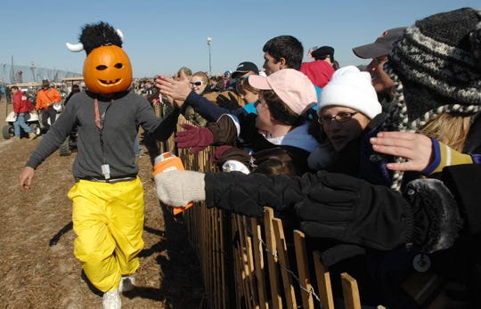 Nov. 5, 2011: Punkin Man gets the crowd fired up at the 26th Annual Punkin Chunkin near Bridgeville.