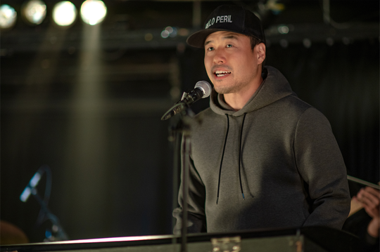 "As Marcus in ""Always Be My Maybe,"" Randall Park performs '90s-style hip-hop tunes with the help of producer Dan the Automator."