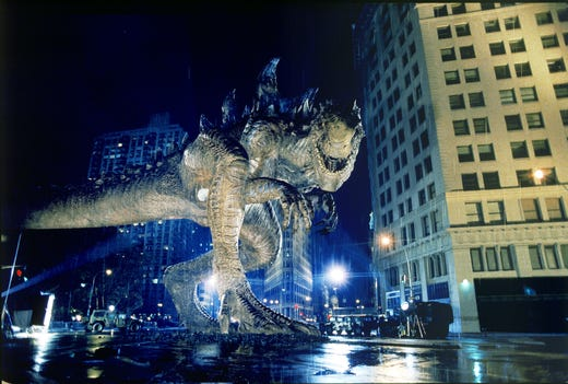 """Disaster movie director Roland Emmerich unleashed a revamped monster on New York City in 1998's """"Godzilla."""""""