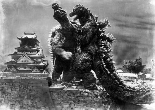 "1955's ""Godzilla Raids Again"" found Godzilla tussling with the dinosaur-likeAnguirus in Osaka."