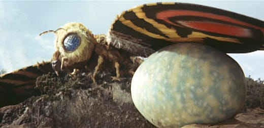 """The queen of all monster moths – and a frequent Godzilla foe – got top billing with """"Mothra vs. Godzilla"""" in 1964."""