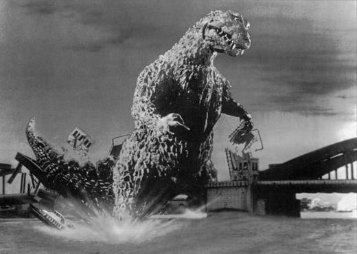 """1956's """"Godzilla, King of the Monsters!"""" was an edited American version of the original """"Godzilla"""" movie that co-starred the G-man and Raymond Burr."""