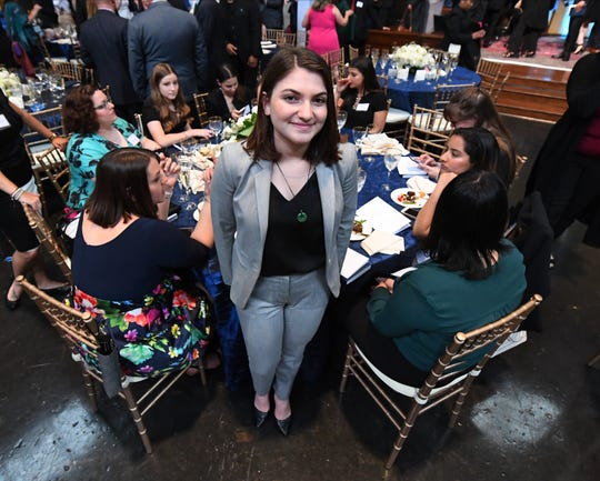 Rebecca Schneid , a senior at The Eagle Eye student newspaper at Marjory Stoneman Douglas High School in Parkland, Fla., with her fellow classmates at the 2019 Pulitzer Prize Awards Ceremony at Columbia University.