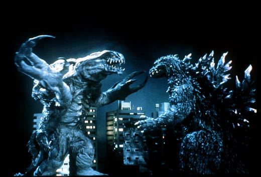 """Godzilla had to deal with Orga, a mutated monster of extraterrestrial origin, in """"Godzilla 2000."""""""