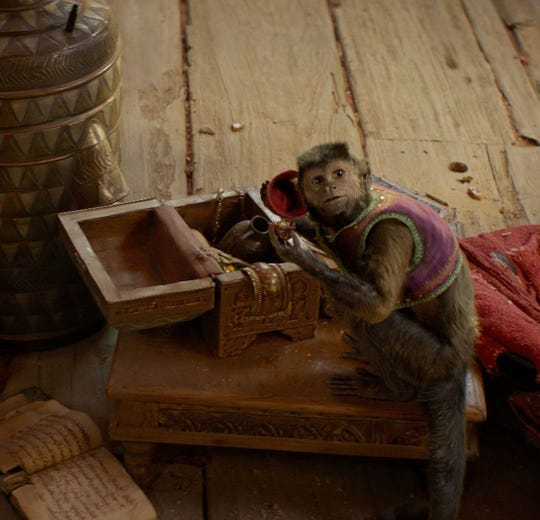 """Abu, the capricious capuchin in """"Aladdin,"""" steals yet another scene."""