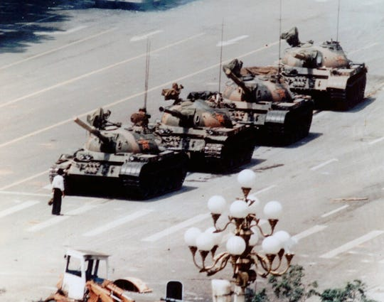 In Tiananmen Square on June 5, 1989.