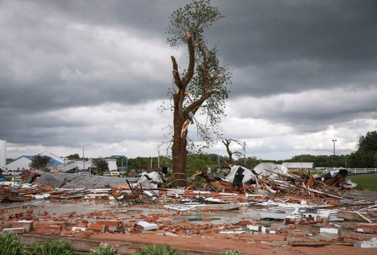 A building on the Floyd County Fairgrounds site in Charles City, Iowa, was leveled after a tornado touched down on the area May 27, 2019.