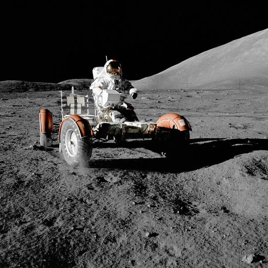 NASA astronaut Eugene Cernan on the moon in 1972.
