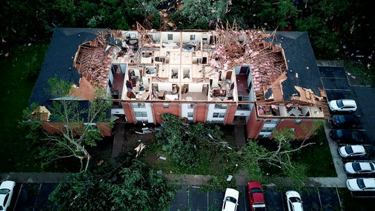 A tornado damaged the Westbrooke Village Apartment complex in Trotwood, Ohio, on May 28.