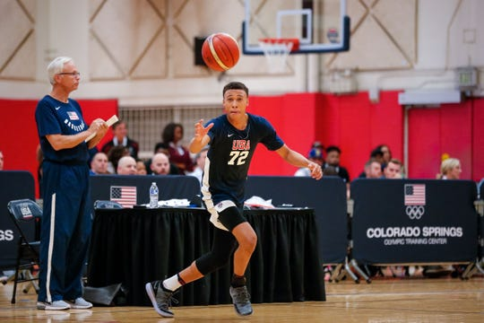 RJ Hampton participates during minicamp for the USA men's junior national team in 2018.