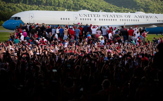 Air Force One with President Donald Trump aboard arrives at a campaign rally in Montoursville, Pa., Monday, May 20, 2019.