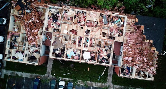 This aerial photo shows tornado damage at the Westbrooke Village Apartment complex in Trotwood, Ohio, Tuesday, May 28, 2019. (Doral Chenoweth III/The Columbus Dispatch via AP) ORG XMIT: OHCOL601
