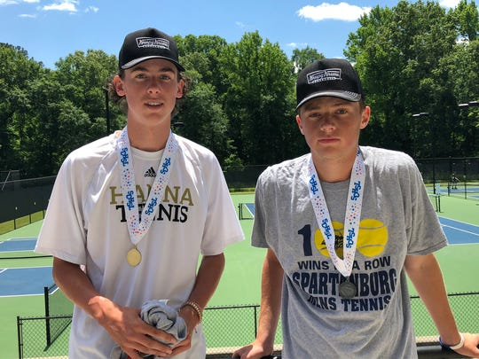 Brolin Dorsey (left) and Will Cubbitt (right) after the AAAA-AAAAA singles state championship.