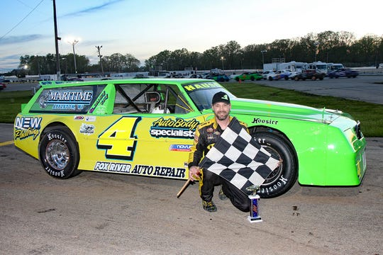 Wrightstown's Greg Hauser set a super stock track record and won the opening night feature at Wisconsin International Raceway in Kaukauna last Thursday. It was Hauser's first race since 2016 after he suffered life-threatening injuries in a non-racing auto accident.