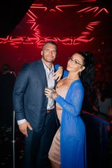 JWoww And Zack Clayton Carpinello Underneath the new largest kinetic light art installation in the U.S.  at the e Hakkasan Grid at Hakkasan Nightclub In Las Vegas on  Memorial Day weekend of 2019.