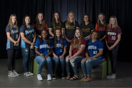 The 2019 All-Shore Softball team- Bottom row: Jayden Kearney of Donovan Catholic, Kalyla Roncin of Donovan Catholic, Kailee Howard of Lacey, and Karina Gaskins of Donovan Catholic. Top row: Lauren Pscolka of Freehold Township, Zoey Valentino of Freehold Township, Malori Bell of Middletown North, Alexis Agrapides of St. John Vianney, Julia Parker of St. John Vianney, Gabriella Polera of St. John Vianney, Cara McNulty of Middletown North, and Alissa Eimont of Matawan. Neptune, NJTuesday, May 28, 2019