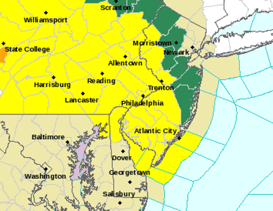 The yellow sections of map will be under a tornado watch until 8 p.m. on May 29, 1019.