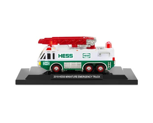 The 2019 Hess mini emergency truck with stand.