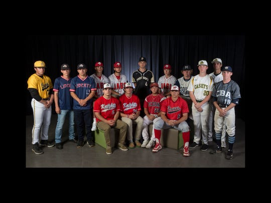 The 2019 All-Shore Baseball team- seated, left to right: Grant Shulman of Wall, Trey Dombroski of Wall, Max Winters of Ocean, and Ben Levine of Manalapan. Back row: Rocko Brzezniak of St John Vianney, Connor Keenan of Jackson Liberty, David Melfi of Jackson Liberty, Alex Iadisernia of Jackson Liberty, Carmine Petosa of Jackson Memorial, Nick Guzzi of Point Boro, Ryan Lasko of Jackson Memorial, James Harmstead of Manasquan, Shane Panzini of Red Bank Catholic, Vincent Bianchi of Red Bank Catholic, and Joe Escandon of Christian Brothers Academy. 