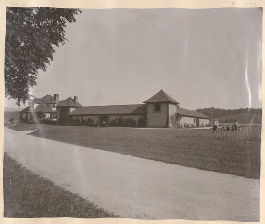 The Market Garden building on the Biltmore Estate, circa 1892. The estate has a large vegetable and fruit growing operation, and the Market Garden was the center of that enterprise.
