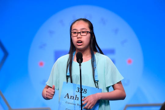 "May 29, 2019: Anh Thu Tran spelled the word ""trough"" incorrectly during the 2019 Scripps National Spelling Bee at Gaylord National Resort and Convention Center."