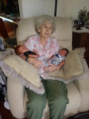 Evelyn Zlock with two of her great-great-grandsons, Ezra and Jasiah.