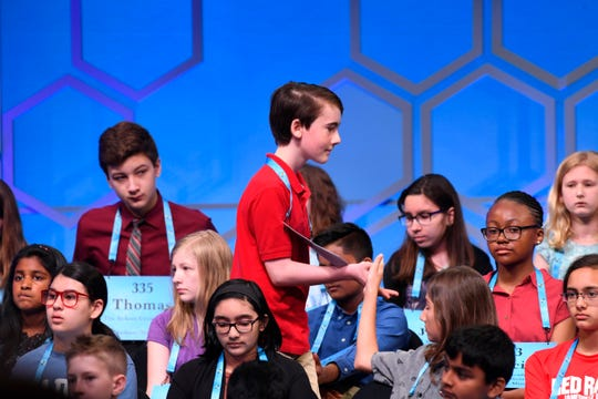 "May 29, 2019: National Harbor, MD, USA; Thomas Hamrick returns to his seat after he spelled the word ""proprietage"" during the 2019 Scripps National Spelling Bee at Gaylord National Resort and Convention Center."