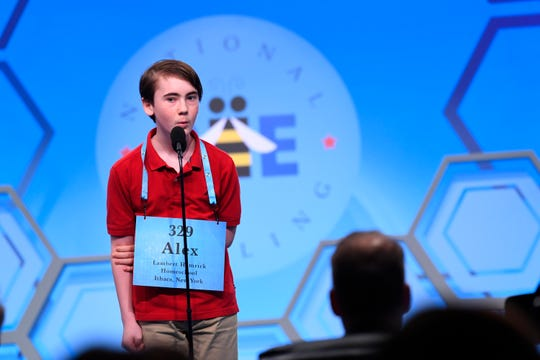 "May 29, 2019: Thomas Hamrick spelled the word ""proprietage"" during the 2019 Scripps National Spelling Bee at Gaylord National Resort and Convention Center."