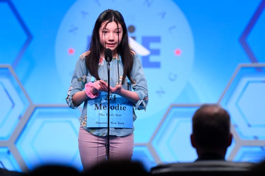 "May 29, 2019: Melodie Loya spells the word ""woebegoneness"" correctly during the 2019 Scripps National Spelling Bee at Gaylord National Resort and Convention Center."