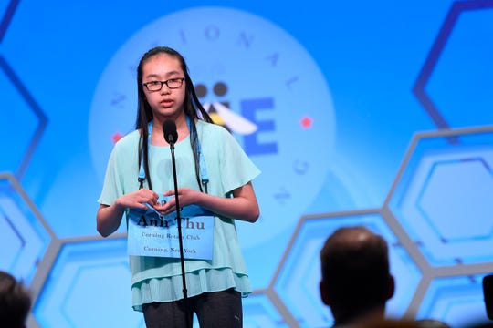 """May 29, 2019: Anh Thu Tran spelled the word """"trough"""" incorrectly during the 2019 Scripps National Spelling Bee at Gaylord National Resort and Convention Center."""