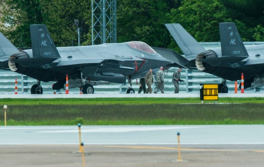 Four F-35 fighter jets can be seen at the Vermont Air National Guard base across from Burlington International Airport  in South Burlington on Wednesday, May 29, 2019.
