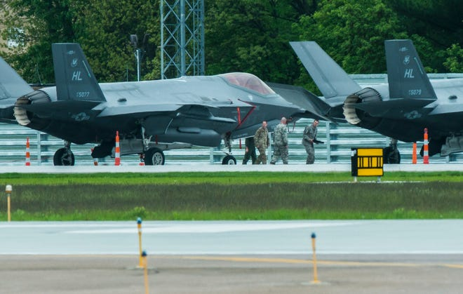 Four F-35 fighter jets can be seen at the Vermont Air National Guard base across from Burlington International Airport  in South Burlington on Wednesday, May 29, 2019, on a stopover before headed overseas.